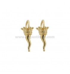 2 PCS HORN PENDANT MM 18X9 WITH CROWN IN GOLD CAST SILVER TIT 800 ‰