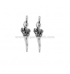 2 PCS HORN PENDANT 23X7 MM WITH SAN CORONA IN CAST BRUNITO SILVER TIT 800 ‰