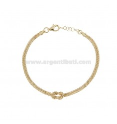 POP CORN BRACELET WITH CENTRAL KNOT IN GOLDEN SILVER TIT 925 ‰ CM FROM 18 EXTENDABLE TO 20