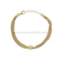 POP CORN BRACELET WITH 4 WIRES WITH CENTRAL BALL IN GOLDEN SILVER TIT 925 ‰ CM FROM 18 EXTENDABLE TO 20