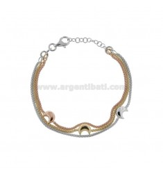 POP CORN BRACELET 1.5 MM 3 WIRES WITH SMALL MOONS IN SILVER TRICOLOR TIT 925 CM 18-21