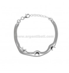 POP CORN BRACELET 1.5 MM 3 WIRES WITH SMALL MOONS IN SILVER RHODIUM TIT 925 CM 18-21