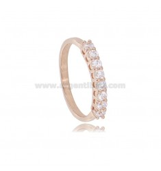 HALF VERETTA RING WITH 8 WHITE ZIRCONIA 2,5 MM IN ROSE SILVER TIT 925 MEASURE 12
