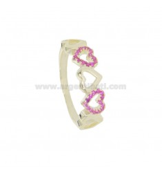 RING WITH 5 HEARTS PERFORATED IN GOLDEN SILVER TIT 925 AND RED ZIRCONIA SIZE 14