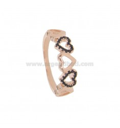 RING WITH 5 HEARTS PERFORATED IN ROSE SILVER TIT 925 AND BLACK ZIRCONIA MEASURE 16