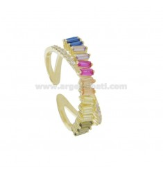 RING WITH ZIRCONIA BAGUETTE RAIMBOW AND WHITE IN GOLDEN SILVER TIT 925 ADJUSTABLE SIZE FROM 14