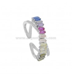 RING WITH ZIRCONIA BAGUETTE RAIMBOW AND WHITE SILVER RHODIUM TIT 925 ADJUSTABLE SIZE FROM 14