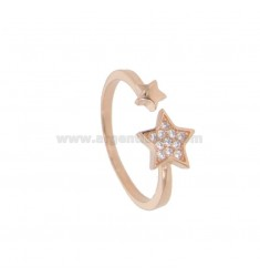 RING WITH STAR IN ROSE SILVER TIT 925 AND WHITE ZIRCONIA ADJUSTABLE SIZE FROM 14