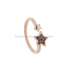 RING WITH STAR IN ROSE SILVER TIT 925 AND BLACK ZIRCONIA ADJUSTABLE SIZE FROM 14