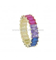 VERETTA RING WITH RECTANGULAR ZIRCONIA RAIMBOW 6.5 MM SILVER GOLDEN TIT 925 MEASURE 12