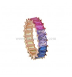 VERETTA RING WITH RECTANGULAR ZIRCONIA RAIMBOW 6.5 MM IN ROSE SILVER TIT 925 MEASURE 16