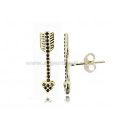 EARRINGS WITH ARROW IN GOLDEN SILVER TIT 925 AND BLACK ZIRCONIA