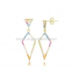 DIAMOND EARRINGS 28X12 MM IN GOLDEN SILVER AND RAINBOW ZIRCONIA