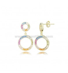 DOUBLE CONTOUR PENDANT EARRINGS 24X13 MM GOLDEN SILVER AND RAINBOW ZIRCONIA