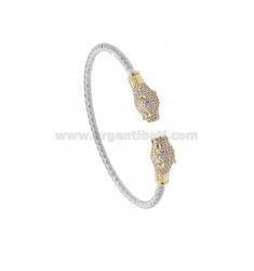 RIGID BRACELET WITH CONTRARY PANTERS IN SILVER RHODIUM AND GOLDEN TIT 925 AND ZIRCONIA