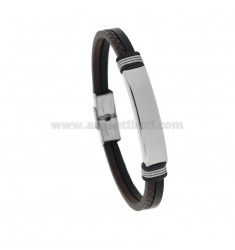 BRACELET IN BROWN AND BLACK LEATHER WITH STEEL PLATE 21 CM