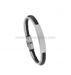 BROWN LEATHER BRACELET WITH STEEL PLATE CM 21