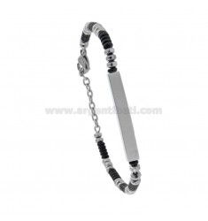 BRACELETS WITH WASHERS AND PLATE IN TWO-TONE STEEL CM 21