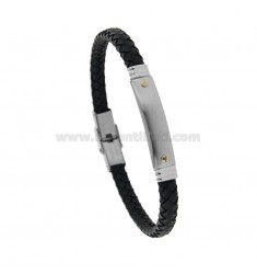 BLACK LEATHER BRACELET WITH STEEL PLATE CM 21