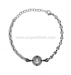 BRACELET WITH ROUND CENTRAL WITH STILL IN TWO-TONE STEEL 21 CM