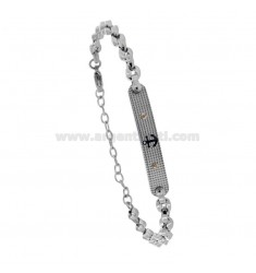 BRACELET WITH PLATE AND STILL IN TWO-TONE STEEL 21 CM
