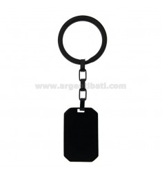 RECTANGULAR KEY RING MM 34X22 IN RUTHENIUM PLATED STEEL