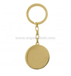 35 MM ROUND KEY RING IN GOLDEN STEEL