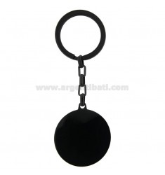 35 MM ROUND KEY RING IN RUTHENIUM PLATED STEEL