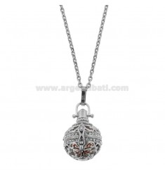 NECKLACE 90 CM WITH CALL ANGELS IN TWO-TONE STEEL AND STRASS