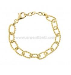 TORCHON CANE CABLE BRACELET 17 MM SILVER GOLDEN TIT 925 CM 19-21