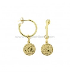 CIRCLE EARRINGS 15 MM WITH PENDANT COIN 12 MM SILVER GOLDEN TIT 925