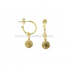 CIRCLE EARRINGS 15 MM WITH 8 MM PENDANT COIN IN GOLDEN SILVER TIT 925