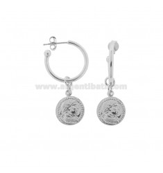 CIRCLE EARRINGS 15 MM WITH PENDANT COIN 12 MM IN SILVER RHODIUM TIT 925