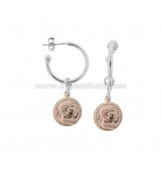 CIRCLE EARRINGS 15 MM WITH PENDANT COIN 12 MM IN SILVER RHODIUM AND ROSE TIT 925