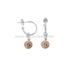 CIRCLE EARRINGS 15 MM WITH 8 MM PENDANT COIN IN SILVER RHODIUM AND ROSE TIT 925