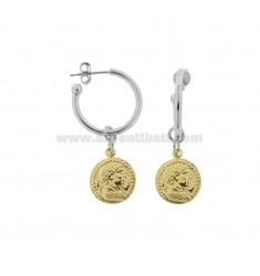 CIRCLE EARRINGS 15 MM WITH PENDANT COIN 12 MM IN SILVER RHODIUM AND GOLDEN TIT 925