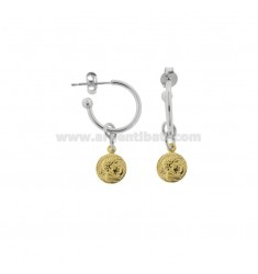 CIRCLE EARRINGS 15 MM WITH 8 MM PENDANT COIN IN SILVER RHODIUM AND GOLDEN TIT 925