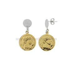 EARRINGS WITH 2 DEGRADE COINS IN SILVER RHODIUM AND GOLDEN TIT 925