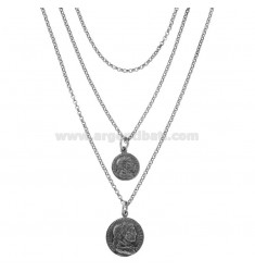 NECKLACE DEGRADE ROLO 'A 3 WITH COINS IN BRUNITO SILVER TIT 925 CM 45-50
