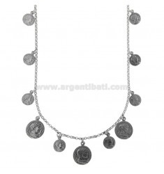 NECKLACE ROLO 'WITH COINS PENDING IN BRUNITO SILVER TIT 925 CM 40-45