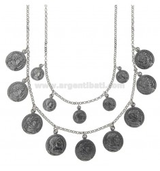 NECKLACE ROLO '2 WIRES DEGRADE WITH COINS PENDING IN BRUNITO SILVER TIT 925 CM 40-45