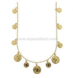 ROLO 'NECKLACE WITH GOLDEN SILVER PENDING COINS TIT 925 CM 40-45