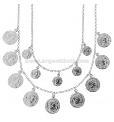 NECKLACE ROLO '2 WIRES DEGRADE WITH COINS PENDING IN SILVER RHODIUM TIT 925 CM 40-45