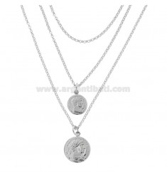 DEGRADE ROLO 'A 3 NECKLACE WITH RHODIUM SILVER COINS TIT 925 CM 45-50