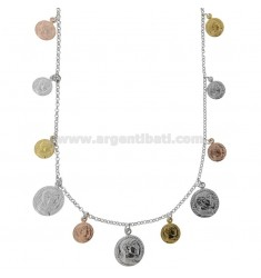 NECKLACE ROLO 'WITH COINS PENDING IN SILVER TRICOLOR TIT 925 CM 40-45