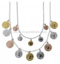 NECKLACE ROLO '2 WIRES DEGRADE WITH COINS PENDING IN SILVER TRICOLOR TIT 925 CM 40-45