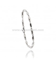 MEN'S BRACELET EMPTY MESH WITH STILL CENTRAL SILVER RHODIUM AND RUTHENIUM PLATED TIT 925 CM 20