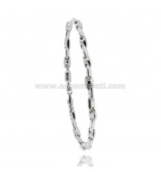 MEN'S BRACELET EMPTY MESH WITH WIND ROSE CENTRAL SILVER RHODIUM AND RUTHENIUM PLATED TIT 925 CM 20