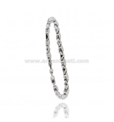 MEN'S BRACELET EMPTY MESH WITH PLATE AND WIND ROSE CENTRAL SILVER RHODIUM AND ROSE TIT 925 CM 20