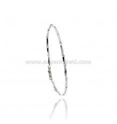 MEN'S BRACELET EMPTY MESH WITH PLATE AND CENTRAL RUDDER SILVER AND RUTHENIUM PLATED TIT 925 CM 20
